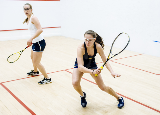 US girls playing squash